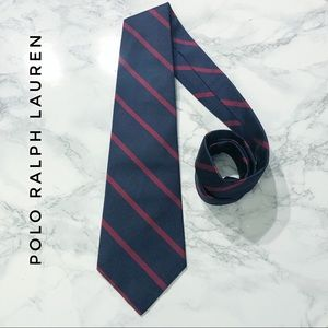 Polo Ralph Lauren Navy Blue Red Striped Preppy Tie